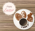 Happy Easter greeting, Gingerbread in the form of eggs. Spring holidays, Easter background