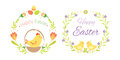 Happy easter hand drawn badge with hand lettering greeting decoration element and natural wreath handmade style vintage