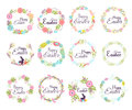 Happy easter hand drawn badge hand lettering greeting decoration element and natural wreath spring flower vector