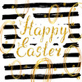 Happy Easter hand drawn greeting card with lettering and sketched doodle elements, gold glitter on black lines background