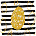 Happy Easter hand drawn greeting card with lettering and sketched doodle elements, gold glitter ester egg on black lines backgroun