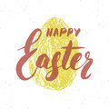 Happy Easter hand drawn greeting card with lettering and sketched grunge egg. Retro vintage holiday vector illustration.