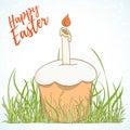 Happy Easter hand drawn retro card