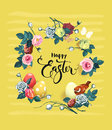 Happy Easter hand lettering surrounded by beautiful flowers, painted eggs and cute bird against yellow background with