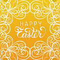 Happy Easter handwritten type greeting card in tracery pattern frame. Religious holiday vector illustration for poster.