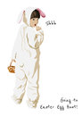 Happy easter holiday greeting card bunny egg hunt funny with girl in a costume holding a basket going to Royalty Free Stock Images