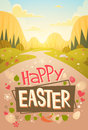 Happy Easter Holiday Mountain Nature Background Greeting Card Royalty Free Stock Photo
