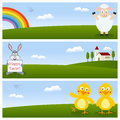 Happy easter horizontal banners a collection of three or spring with a cute lamb greeting a bunny rabbit holding a banner two Stock Photo