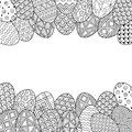 Happy easter. Horizontal Vignette of Black and white Doodle Easter eggs. Coloring book for adults for relaxation and meditation. V