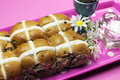 Happy Easter Hot Cross Buns on Pink Polka Dot Tray Royalty Free Stock Image