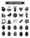 Happy Easter icon set, black silhouette, outline style. Vector illustration.