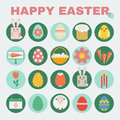 Happy Easter icon set. Royalty Free Stock Photo