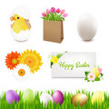 Happy Easter Icons Stock Photo