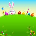 Happy easter illustration of bunny with colorful egg Stock Image