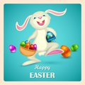 Happy easter illustration of bunny holding basket with colorful egg Stock Photos