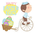 Happy easter a illustration for day featuring cute boy delivering s eggs Royalty Free Stock Image