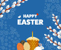 Happy Easter illustration with Eggs, Grass, Flowers.