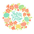 Happy Easter inscription, wreath of flowers and painted eggs. Festive card in vector
