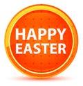 Happy Easter Natural Orange Round Button