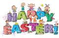 Happy Easter kids on letters Stock Photos