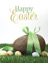 Happy Easter large chocolate Easter egg with sample text Royalty Free Stock Photo