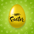 Happy Easter Lettering on decorated gold egg on green background