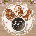 Happy Easter lettering, Gingerbread in the form of eggs. Spring holidays, Easter background