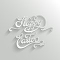 Happy easter lettering greeting card hand typographical vector background handmade calligraphy easy paste to any background Stock Photo