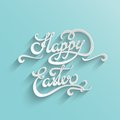 Happy easter lettering greeting card hand typographical vector background handmade calligraphy easy paste to any background Stock Image