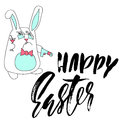 Happy Easter lettering for greeting card. Vector hand drawn illustration. Grunge dry brush inscription. Handwritten