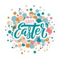 Happy easter lettering and circles