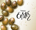 Happy Easter luxury banner background template with beautiful realistic golden eggs. Greeting card. Vector illustration.