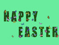 Happy easter with many butterflies flying around Royalty Free Stock Image