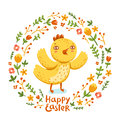 Happy easter nestling floral wreath Stock Images