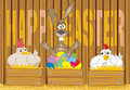 Happy easter - painted eggs in the henhouse Stock Image