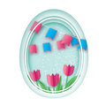 Happy Easter. Paper cut Easter Egg, Pink Tulip Flower. Flag. Origami Oval frame