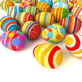 Happy easter pile of eggs conceptual illustration on white background d render Stock Image