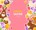 Happy Easter Pink Banner With Flat Stickers Royalty Free Stock Photo