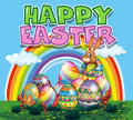 Happy Easter poster with bunny and colorful eggs