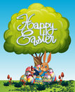 Happy Easter poster with bunny and eggs under the tree