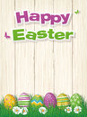Happy Easter Poster with Easter Eggs in Grass