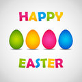 Happy easter poster four colorful eggs Royalty Free Stock Photo