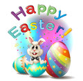 A happy easter poster illustration of on white background Royalty Free Stock Photography
