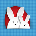 Happy easter rabbit bunny on blue background vector Royalty Free Stock Photo