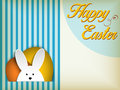 Happy easter rabbit bunny on blue background vector Stock Photo