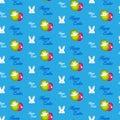 Happy easter rabbit bunny blue seamless background vector Stock Photos