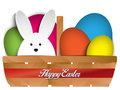 Happy easter rabbit bunny and eggs in basket vector Royalty Free Stock Images
