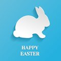 Happy easter rabbit bunny illustration white on blue background Royalty Free Stock Images