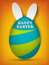 Happy Easter Rabbit Bunny on Orange Background Royalty Free Stock Photo