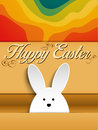 Happy easter rabbit bunny on rainbow background vector Royalty Free Stock Image